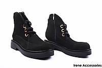Ботинки женские нубук Euromoda (ботильоны комфорт, стильные, байка, черные, Турция)