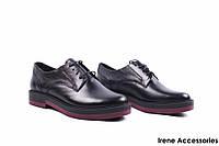 Туфли женские кожаные Strado (комфортные, стильные, черные, Украина)