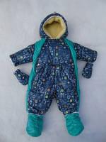 Детские осенне-зимние термо-комбинезоны-трансформеры от 0 до 1.5 года с подстежкой из овчины синий-бирюза