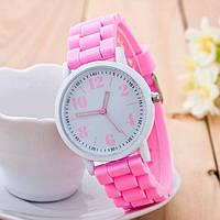 Розовые силиконовые наручные женские часы арт.0209