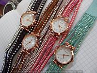 Женские часы на две обмотки вокруг руки 114351 бирюзовые, коралловые, коричневые, черные в стразах