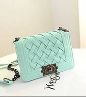 Женская сумка клатч Chanel mint плетенная