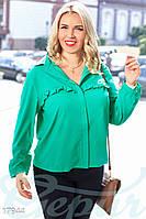 Блуза однотонная. Большие размеры. Цвет зеленый.