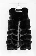 Меховой женский жилет из песца цвет черный