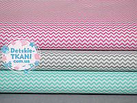 Набор хлопковых тканей 50*50 из 3 штук с мини зигзагом (мятный, серый, розовый)