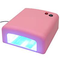 УФ лампа для сушки геля, гель-лака на 36 Вт, розовая