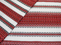 Отрез ткани лен беленый - Вишиванка двусторонняя, 50x73 см, 1 шт