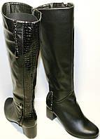 Сапоги зимние женские Foletti FL60-40 черные, кожа, каблук 6,5 см, замочек до верха, мех европейка.