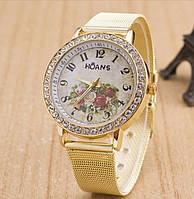 Наручные часы HOANS с цветами для женщин. Отличное качество. Практичные и стильные часы. Купить. Код: КДН763