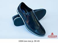 ТМ Jordan LSh Мокасины мужские кожаные 1204 син лак JORDAN L.Sh.