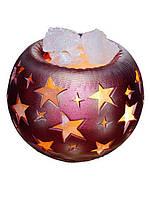 Артемовск Соляной светильник в керамическом основании Шар звезды 4 кг