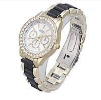 Женские наручные часы M&H с черной полосой. Стильный аксессуар. Качественные часики. Модные часы. Код: КДН765