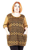 Туника большого размера Узор карман (2 цв), туника для полных женщин, одежда больших размеров, дропшиппинг