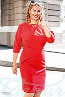 Красивое платье батал. Цвет красный. Большие размеры.