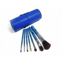 Кисти для макияжа в тубусе 7 штук Blue , кисточки для макияжа