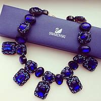 Колье женское Swarovski Elements синее, бижутерия магазин