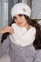 Комплект женский шапка и шарф снуд связанный объемным узором