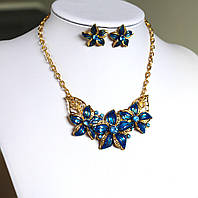 Комплект украшений Колье и серьги Florich синий , набор бижутерии