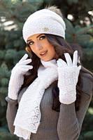 Вязаный женский комплект шапка + шарф и перчатки