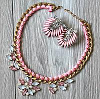 Набор украшений Колье и серьги Византия розовые , магазин бижутерии