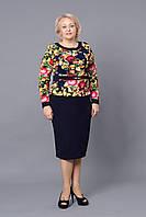 Приталенное платье в клеточку с цветочным принтом