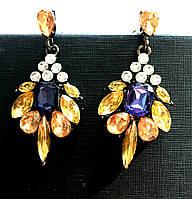 Серьги женские Валенсия янтарные, круглые сережки