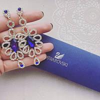 Серьги женские Метель синие, женские сережки