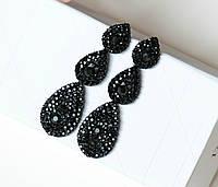 Серьги женские Затмение черные, вечерние сережки