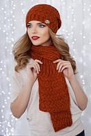 Вязанный зимний комплект состоящий из шапки-колпака и шарфа