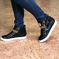 Ботинки женские демисезонные Zanotti цепь черные, осенняя обувь