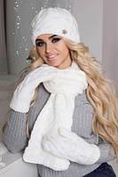 Модный вязаный комплект шапка, шарф и варежки связанные из качественной теплой пряжи