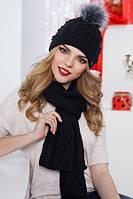 Стильный вязаный комплект из шапки и шарфа