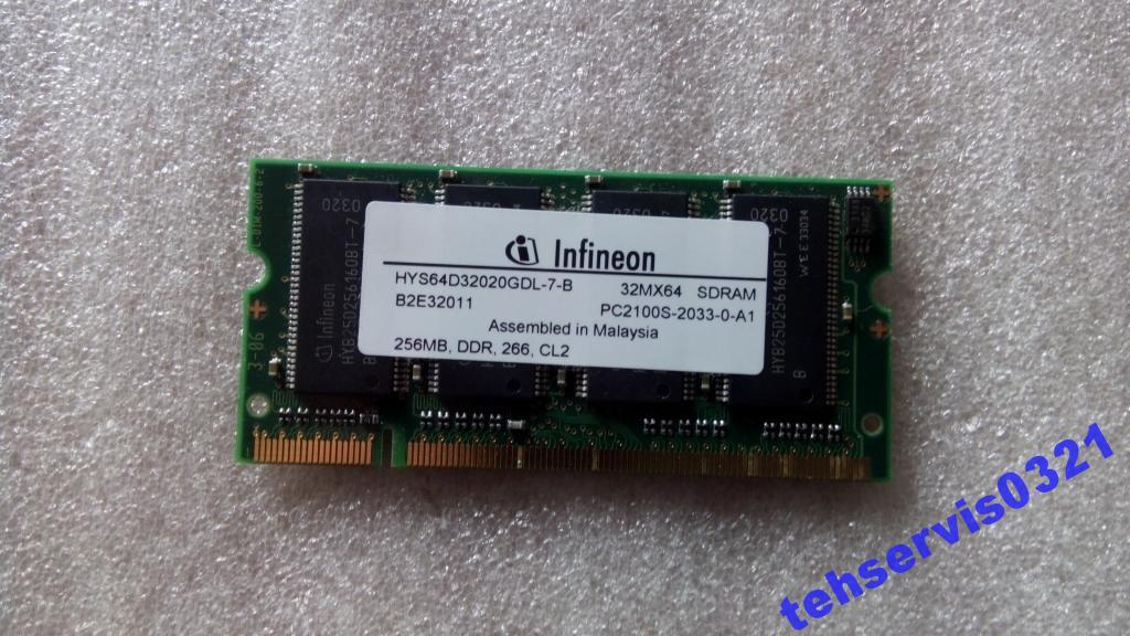 Оперативная память DDR 256Mb SODIMM для ноутбука