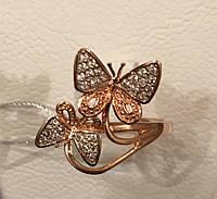 Кольцо золотое 585 проба бабочки