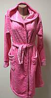 Махровый женский халат на запах с капюшоном размер 44,46,50