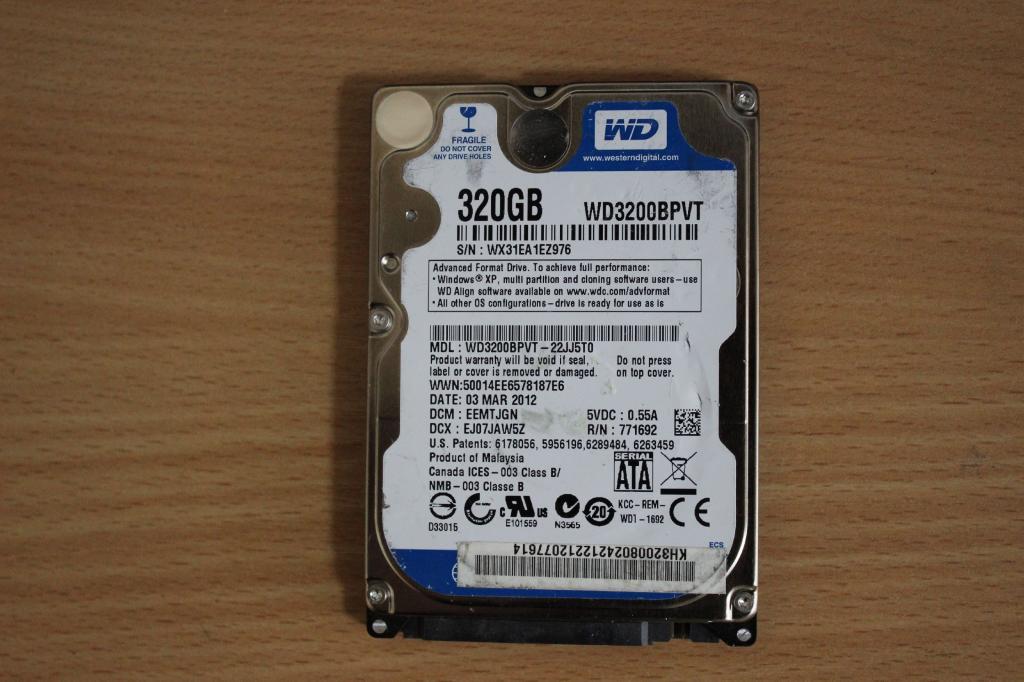 Жесткий диск 2,5 Sata WD 320 GB нерабочий #146
