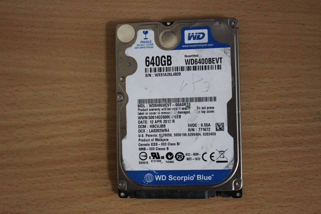 Жесткий диск 2,5 Sata WD 640 GB нерабочий #152