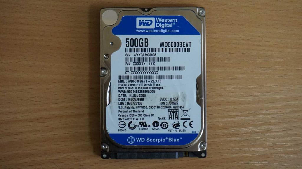 Жесткий диск 2,5 Sata WD 500 GB нерабочий #161
