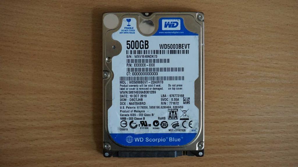 Жесткий диск 2,5 Sata WD 500 GB нерабочий #160