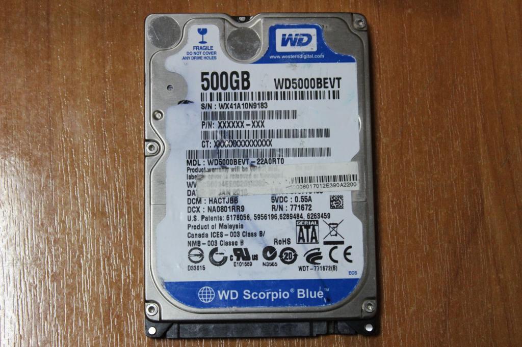 Жесткий диск 2,5 Sata WD 500 GB нерабочий #63