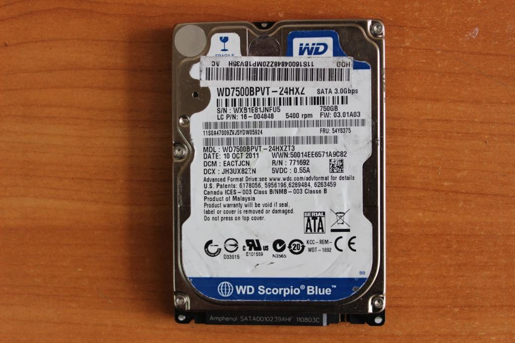 Жесткий диск 2,5 Sata WD 750GB нерабочий #127