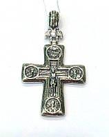 Серебряный нательный православный Крестик с распятием и иконами