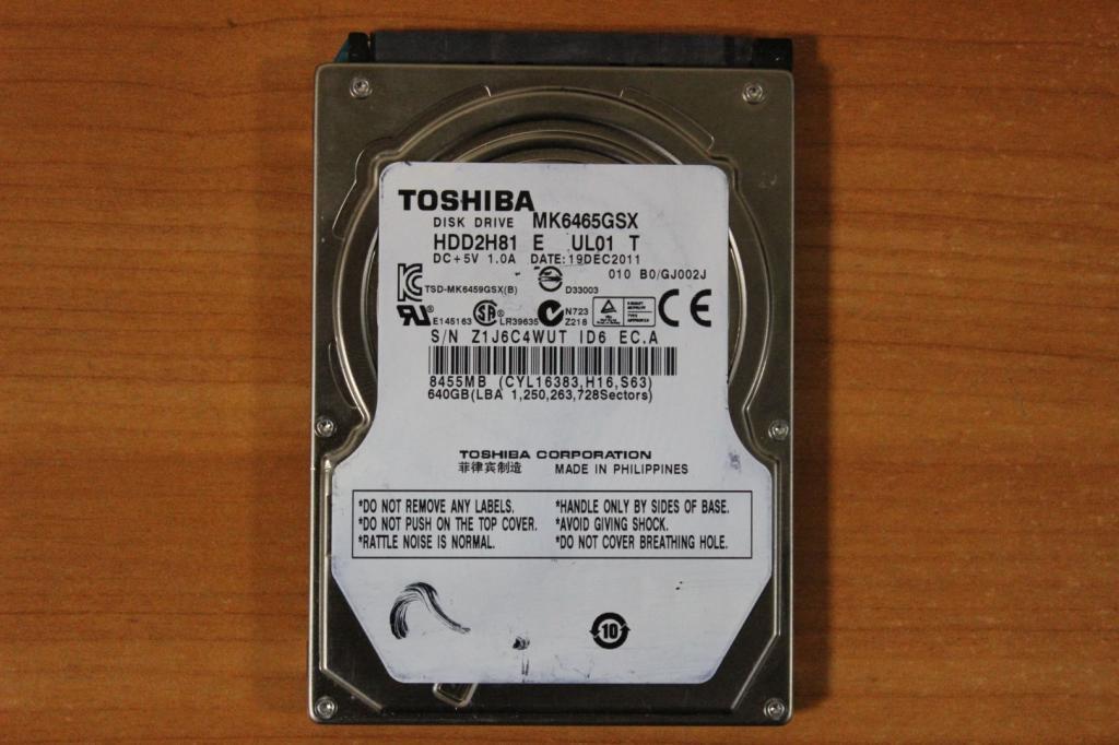 Жесткий диск 2,5 Sata Toshiba 640GB нерабочий #119