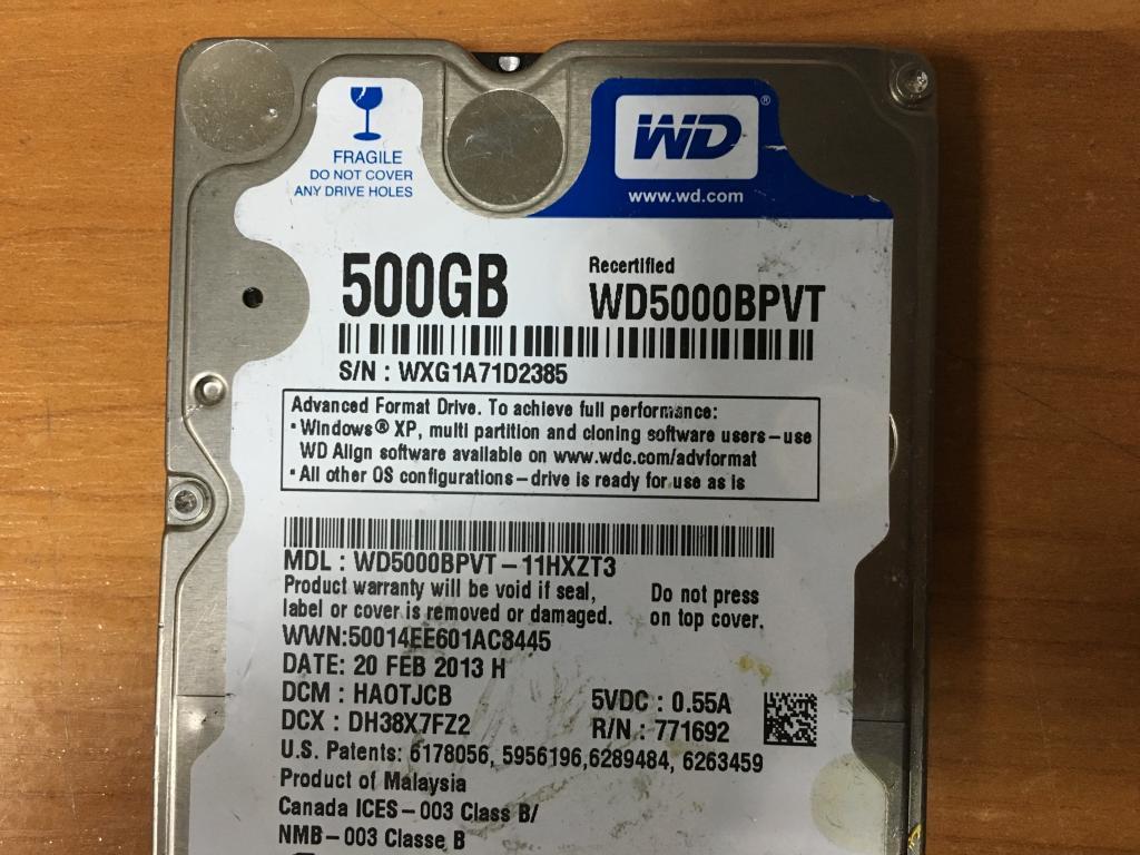 2,5 Sata WD5000BPVT 500 GB нерабочий