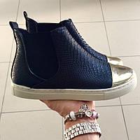 Ботинки женские демисезонные кеды Essia черные,  осенняя обувь