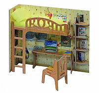 """Коллекционный набор мебели """"Уголок школьника"""". Объемный пазл. Материал: картон.(в коробке)"""