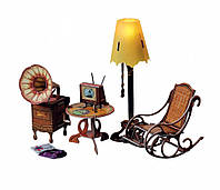 """Коллекционный набор мебели """"Торшер и обстановка"""". Объемный пазл. Материал: картон."""
