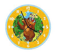"""Сборная пазл-игрушка Часы """"Маша и медведь"""" (с часовым мех.) Материал: картон + изолон"""