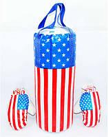 Боксерская груша с перчатками Американский флаг 3
