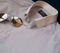 Мужская рубашка Classique серо-голубая с белым вор
